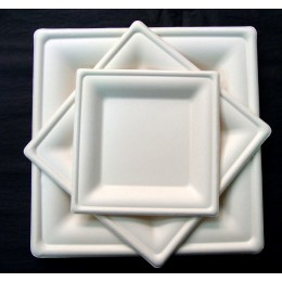 Plato cuadrado luxe compostable 26x26cm pack 15u