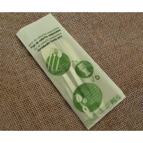 Set de 4 cubiertos compostables