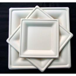 Plato cuadrado luxe compostable 26x26cm pack 125u
