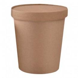 Tarrina kraft con tapa biodegradable 480ml pack 25u