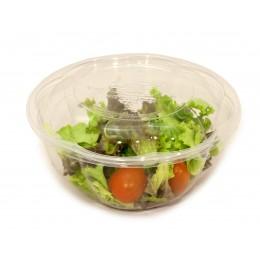 Bol ensaladera PLA compostable + tapa pack 10u